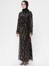 Black - Gold - Multi - Fully Lined - Crew neck - Muslim Evening Dress