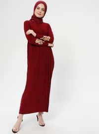 Maroon - Point Collar - Unlined - Dress - ZENANE