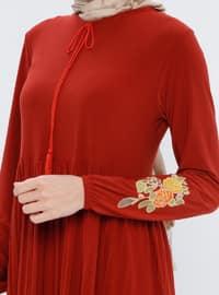 Terra Cotta - Point Collar - Unlined - Dress - ZENANE