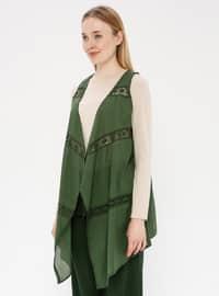 Green - Unlined - Shawl Collar - Cotton - Vest