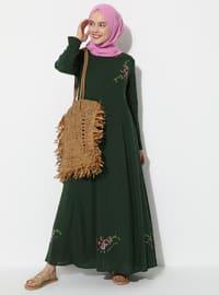 Yeşil - Yuvarlak yakalı - Astarlı - Pamuklu - Elbise