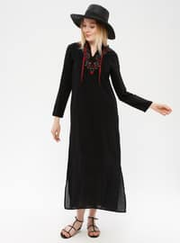 Black - V neck Collar - Fully Lined - Cotton - Dress