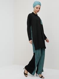 Green Almond - Stripe - Unlined - Suit