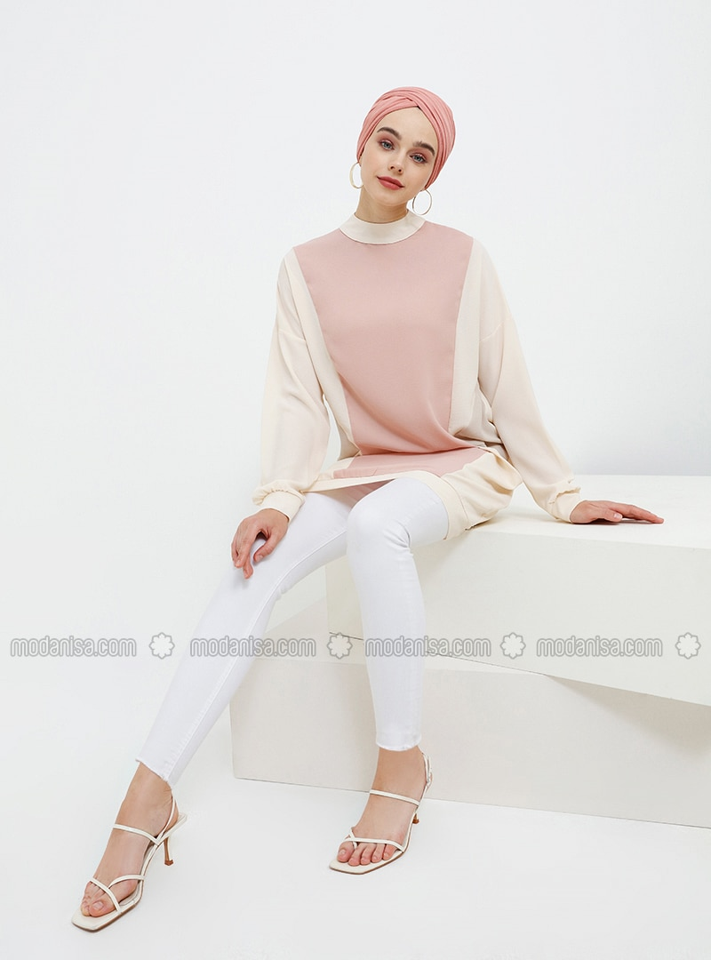 Beige - Powder - Polo neck - Tunic