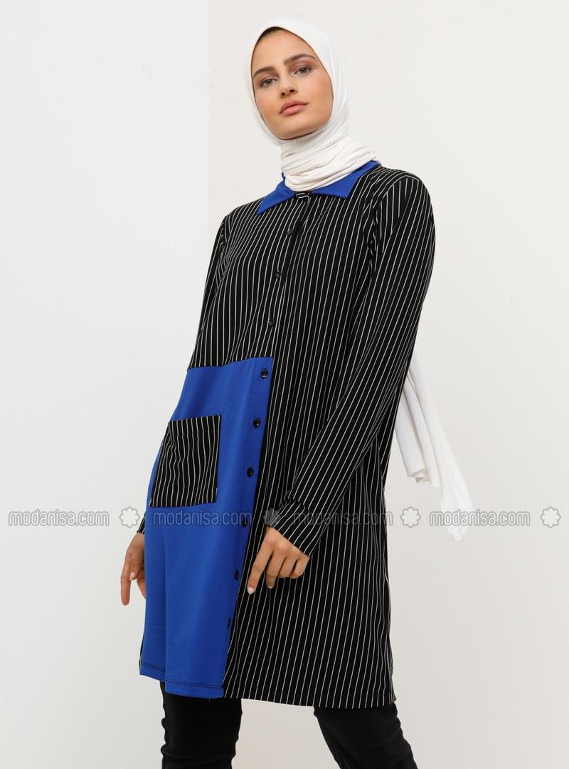 Black - Saxe - Stripe - Point Collar - Tunic