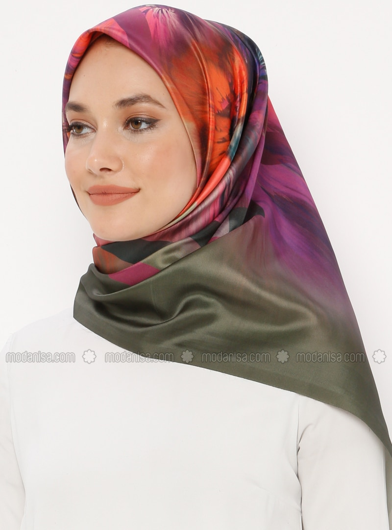 Purple - Printed - Digital Printing - Scarf - Renkli Butik