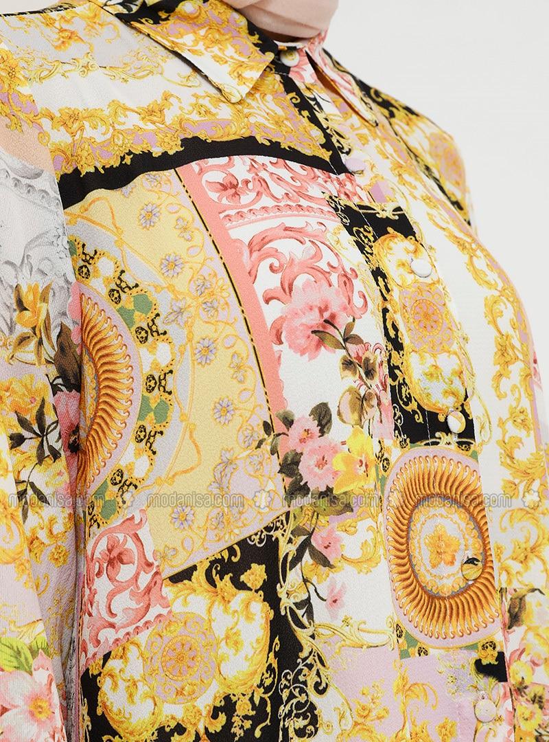 gelb - rosa - spitzer kragen - ohne innenfutter - hijab kleid