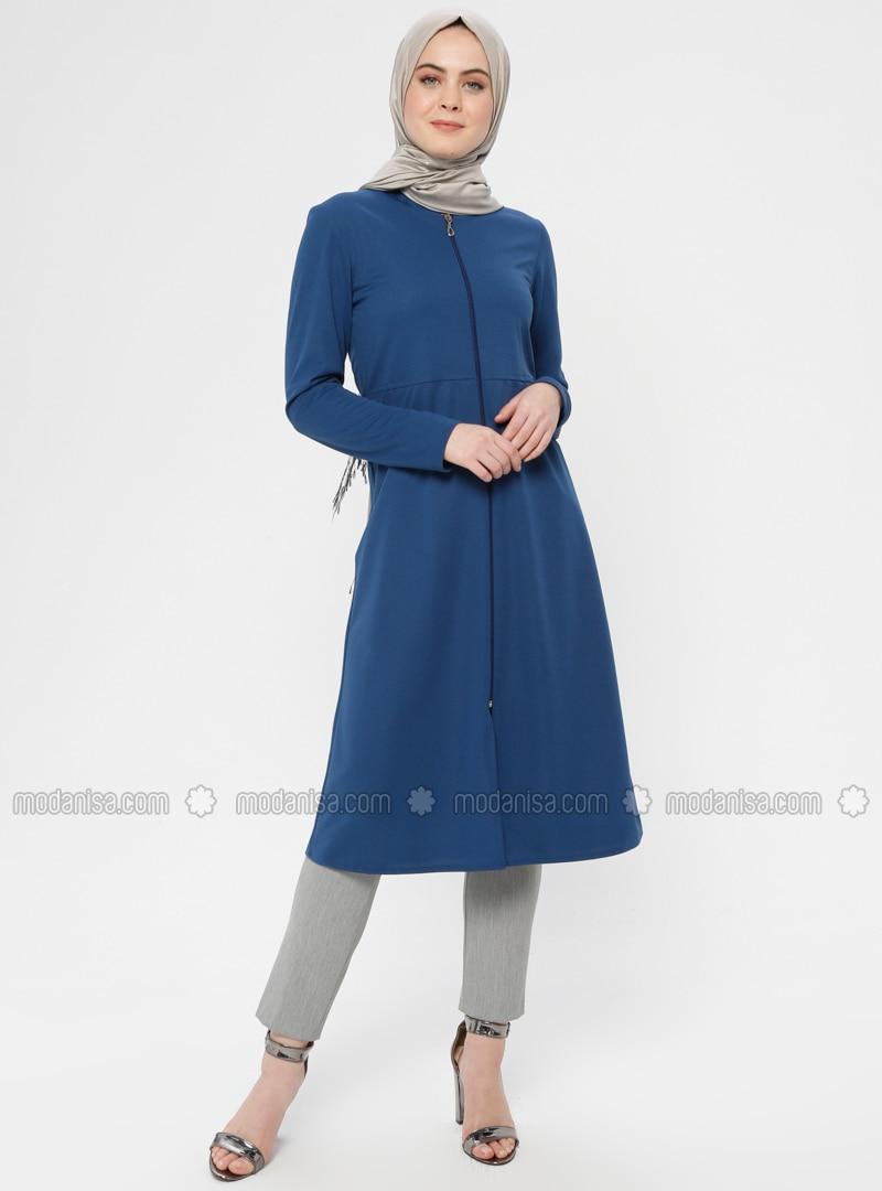 Blue - Indigo - Unlined - Crew neck - Topcoat - ZENANE