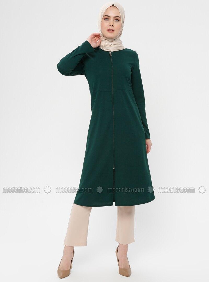 Green - Emerald - Unlined - Crew neck - Topcoat - ZENANE