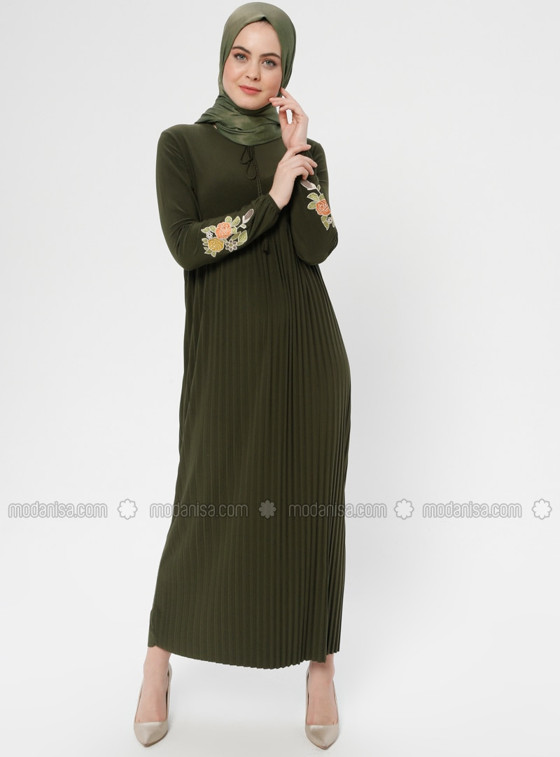 Khaki - Point Collar - Unlined - Dress - ZENANE