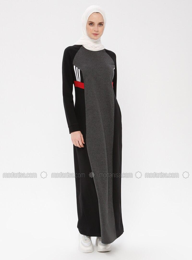Black - Anthracite - Multi - Crew neck - Unlined - Dress
