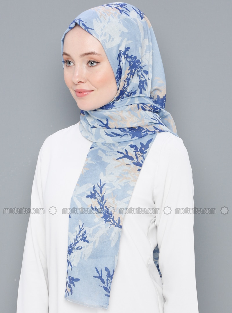 Blue - Printed - Cotton - Shawl
