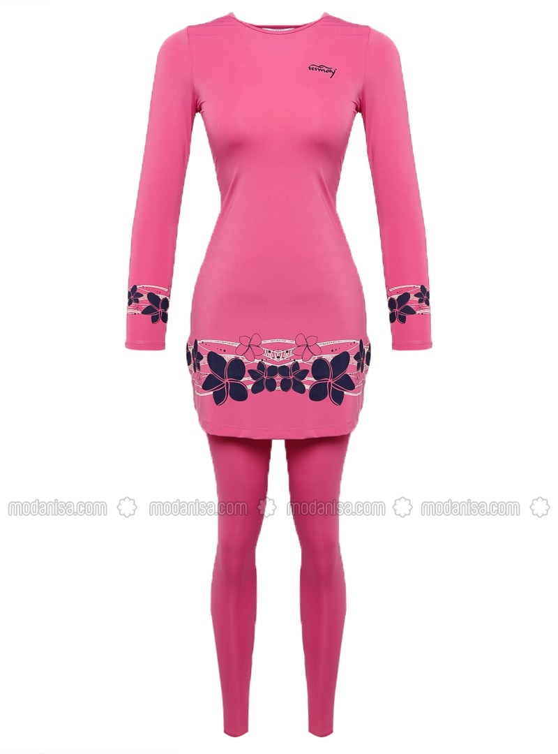 Fuchsia - Pink - Floral - Fully Lined - Half Covered Switsuits