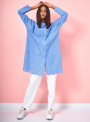 Blue - Stripe - Button Collar - Cotton - Blouses