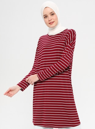Maroon - Stripe - Crew neck - Tunic