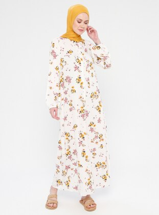 White - Yellow - Ecru - Multi - Crew neck - Unlined - Dress