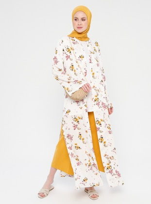 White - Yellow - Ecru - Floral - Unlined - Viscose - Abaya