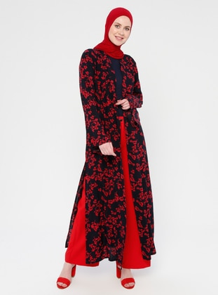 Red - Black - Floral - Unlined - Viscose - Abaya