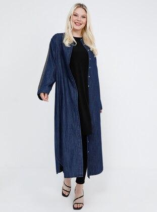 Navy Blue - Unlined - Button Collar - Cotton - Denim - Plus Size Coat