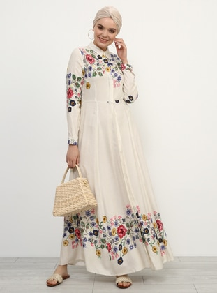White - Ecru - Floral - Point Collar - Unlined - Viscose - Dress - Refka