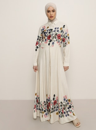 White - Ecru - Floral - Point Collar - Unlined - Viscose - Dress