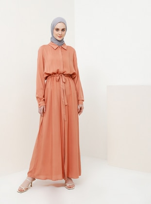 Pink - Point Collar - Unlined - Viscose - Dress
