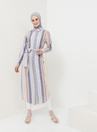 Navy Blue - Beige - Stripe - Point Collar - Unlined - Viscose - Dress