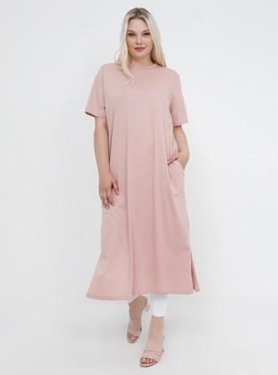 Powder - Unlined - Crew neck - Cotton - Plus Size Tunic