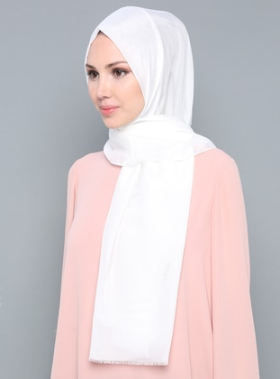White - Ecru - Plain - Silk Blend - Cotton - Scarf