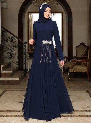 Navy Blue - Fully Lined - Crew neck - Chiffon - Muslim Evening Dress