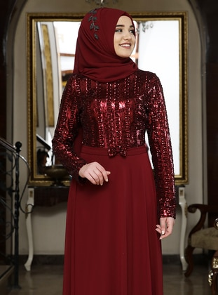 Maroon - Bowtie - Fully Lined - Crew neck - Chiffon - Muslim Evening Dress