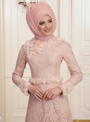 Salmon - Fully Lined - Crew neck - Muslim Evening Dress