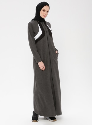 Anthracite - Unlined - Polo neck - Cotton - Abaya