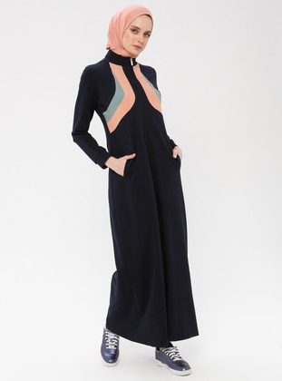 Navy Blue - Unlined - Polo neck - Cotton - Abaya