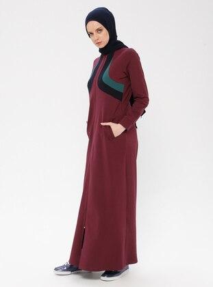 Plum - Unlined - Polo neck - Cotton - Abaya