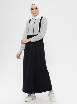 Gray - Unlined - Polo neck - Cotton - Abaya