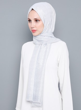 Gray - Plain - %100 Silk - Shawl
