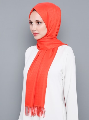 Coral - Plain - %100 Silk - Shawl