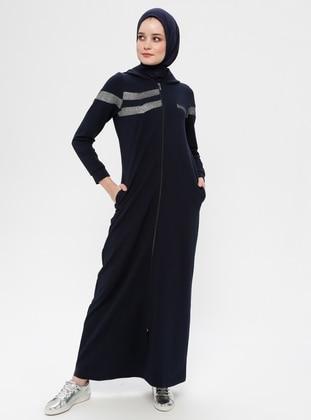 Navy Blue - Unlined - Cotton - Abaya