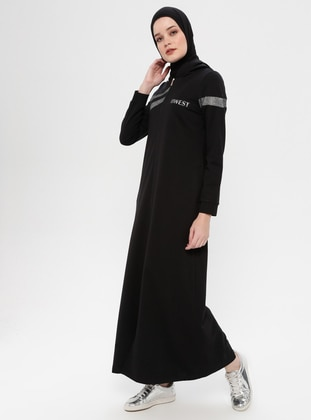Black - Unlined - Cotton - Abaya