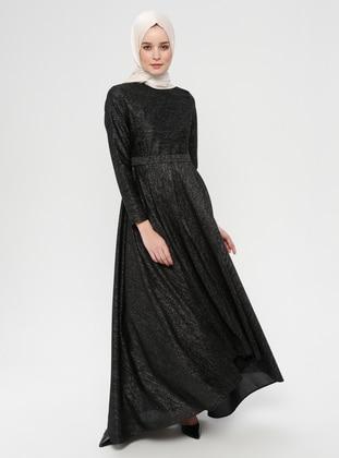 Black - Crew neck - Unlined - Cotton - Viscose - Dress