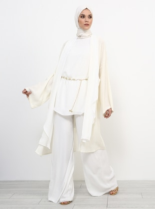 White - Ecru - Fully Lined - Viscose - Suit