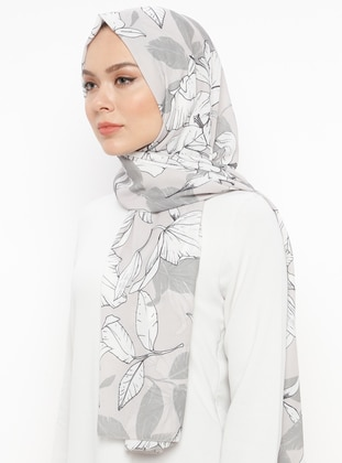 Beige - Printed - Cotton - Shawl