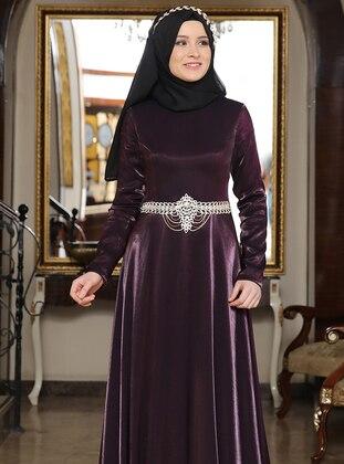 Plum - Fully Lined - Crew neck - Satin - Muslim Evening Dress