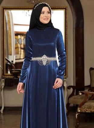 Petrol - Fully Lined - Crew neck - Satin - Muslim Evening Dress