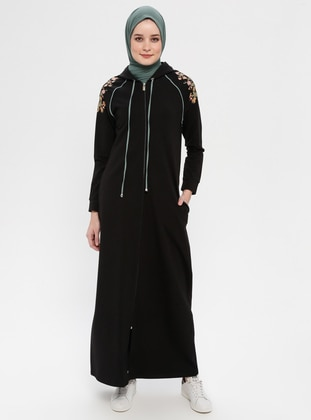 Black - Unlined - Cotton - Abaya