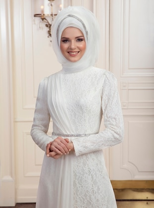 Ecru - Fully Lined - Muslim Evening Dress