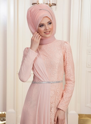 Salmon - Fully Lined - Muslim Evening Dress