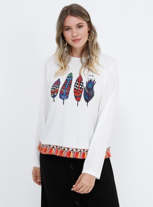 White - Ecru - Multi - Crew neck - Plus Size Blouse - Alia