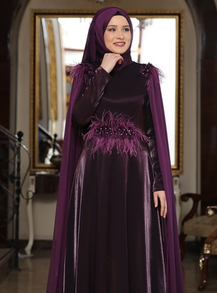 Plum - Fully Lined - Crew neck - Chiffon - Satin - Muslim Evening Dress